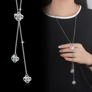 NEW 925 Sterling Silver Diamond Clover Necklace